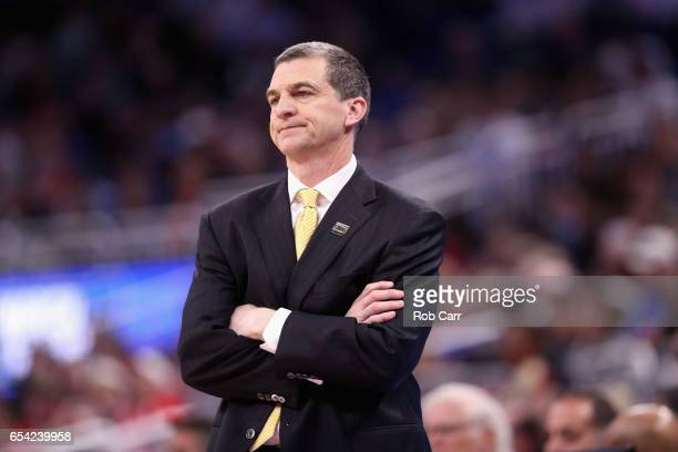 Head coach Mark Turgeon of the Maryland Terrapins reacts in the second half against the Xavier Musketeers during the first round of the 2017 NCAA...
