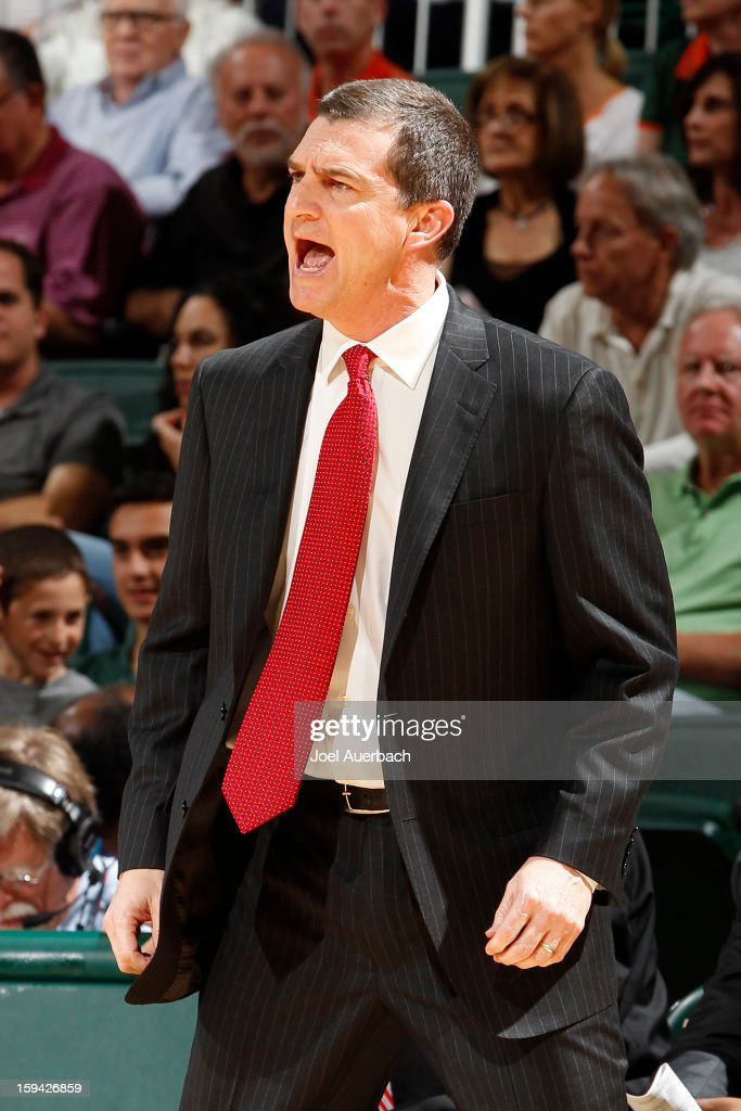 Head coach Mark Turgeon of the Maryland Terrapins reacts to a foul call during first half action against the Miami Hurricanes on January 13, 2013 at the BankUnited Center in Coral Gables, Florida.