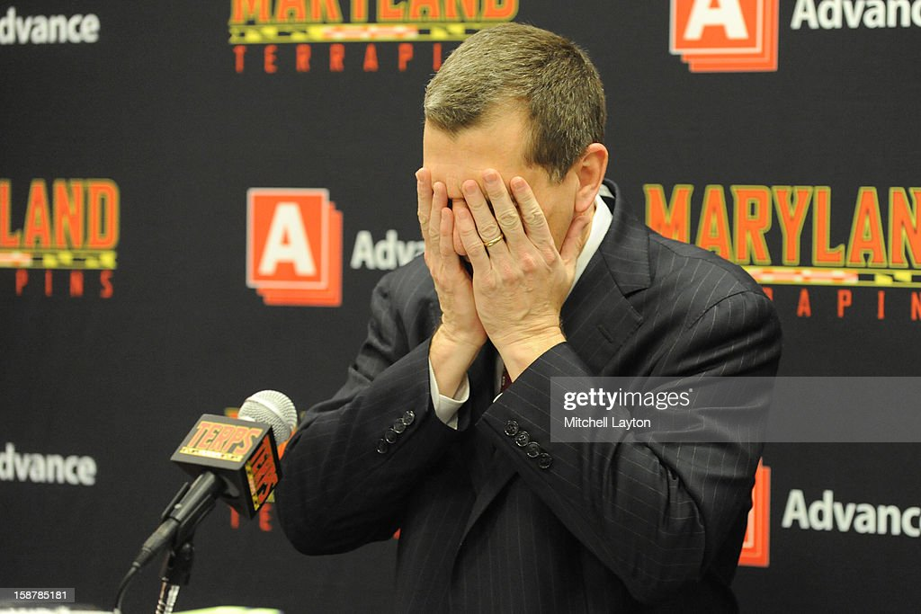 Head coach Mark Turgeon of the Maryland Terrapins reacts while talking to the media after a college basketball game against the Stony Brook Seawolves on December 21, 2012 at the Comcast Center in College Park, Maryland. The Terrapins won 76-69.