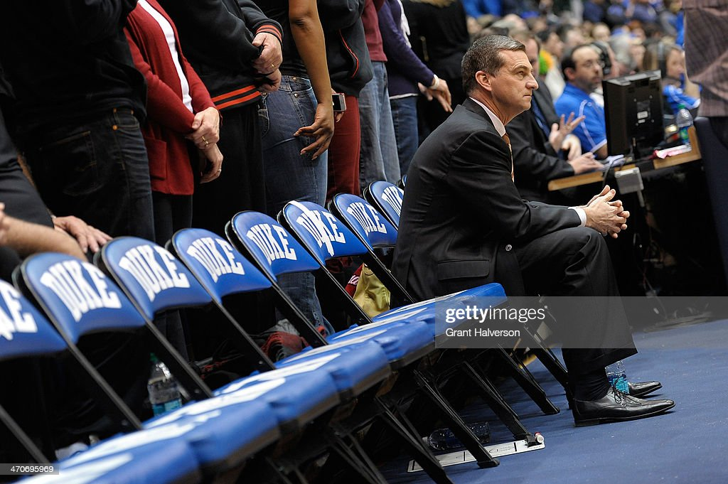 Head coach Mark Turgeon of the Maryland Terrapins waits for the start of their final conference game against the Duke Blue Devils at Cameron Indoor Stadium on February 15, 2014 in Durham, North Carolina.