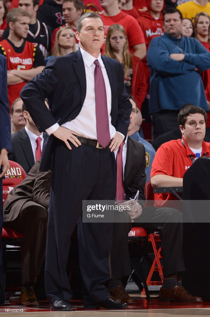 Head coach Mark Turgeon of the Maryland Terrapins watches the game against the Florida State Seminoles at the Comcast Center on January 9, 2013 in College Park, Maryland.