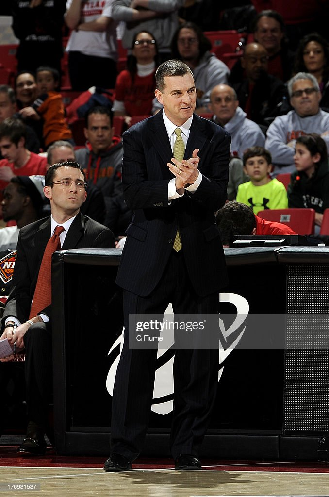 Head coach Mark Turgeon of the Maryland Terrapins watches the game against the Denver Pioneers during the second round of the NIT Basketball...