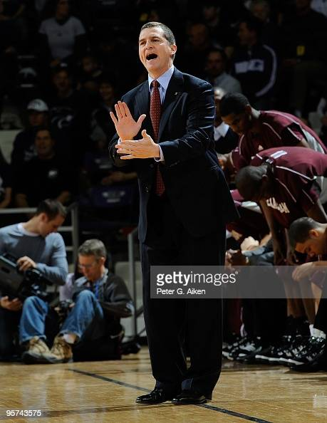 Head coach Mark Turgeon of the Texas AM Aggies sends in a play during a game the Kansas State Wildcats on January 12 2010 at Bramlage Coliseum in...
