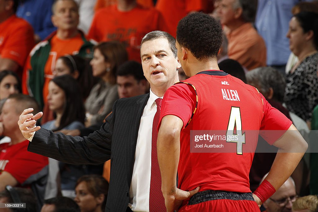 Head coach Mark Turgeon talks to Seth Allen #4 of the Maryland Terrapins during a time out against the Miami Hurricanes on January 13, 2013 at the BankUnited Center in Coral Gables, Florida. Miami defeated Maryland 54-47.