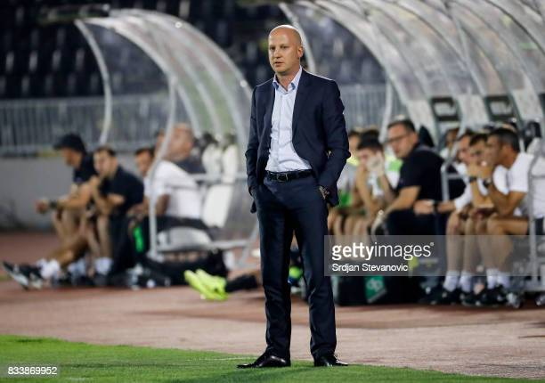 Head coach Marko Nikolic of Videoton looks on during the UEFA Europa League Qualifying PlayOffs round first leg match between Partizan and Videoton...