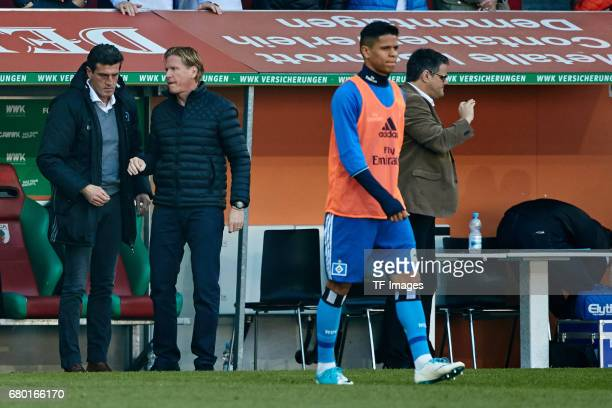 Head coach Markus Gisdol of Hamburg and Jens Todt of Hamburg looks dejected during the Bundesliga match between FC Augsburg and Hamburger SV at WWK...