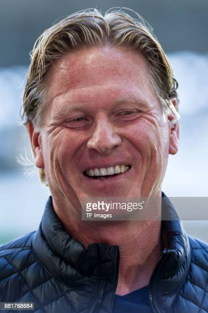 Head coach Markus Gisdol of Hamburg laughs during the Bundesliga match between FC Augsburg and Hamburger SV at WWK Arena on April 30 2017 in Augsburg...