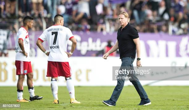 Head coach Markus Gisdol of Hamburg looks dejected after loosing the DFB Cup match between VfL Osnabrueck and Hamburger SV at Osnatel Arena on August...