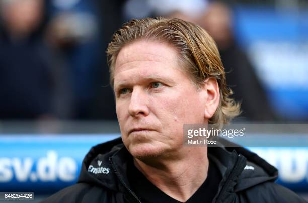 Head coach Markus Gisdol of Hamburg looks on during the Bundesliga match between Hamburger SV and Hertha BSC at Volksparkstadion on March 5 2017 in...