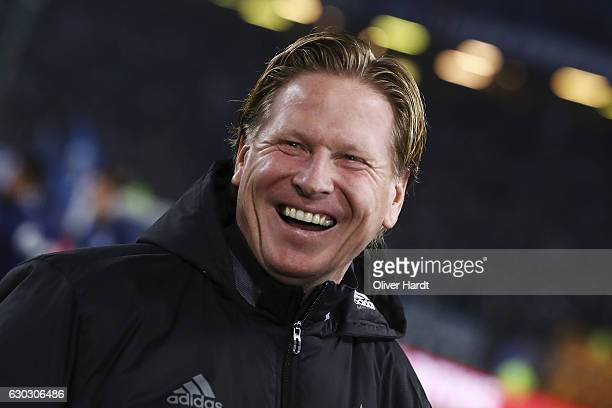 Head coach Markus Gisdol of Hamburg looks on prior to the Bundesliga match between Hamburger SV and FC Schalke 04 at Volksparkstadion on December 20...