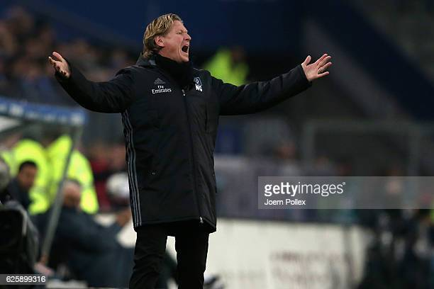 Head coach Markus Gisdol of Hamburg reacts during the Bundesliga match between Hamburger SV and Werder Bremen at Volksparkstadion on November 26 2016...