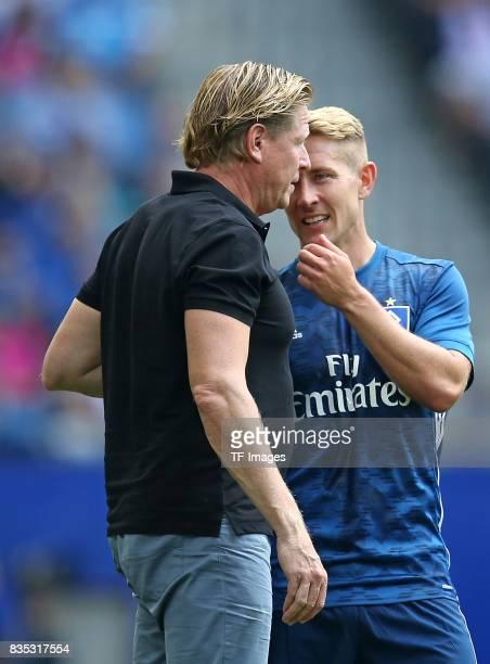 Head coach Markus Gisdol of Hamburg speak with Lewis Holtby of Hamburg during the preseason friendly match between Hamburger SV and Espanyol...