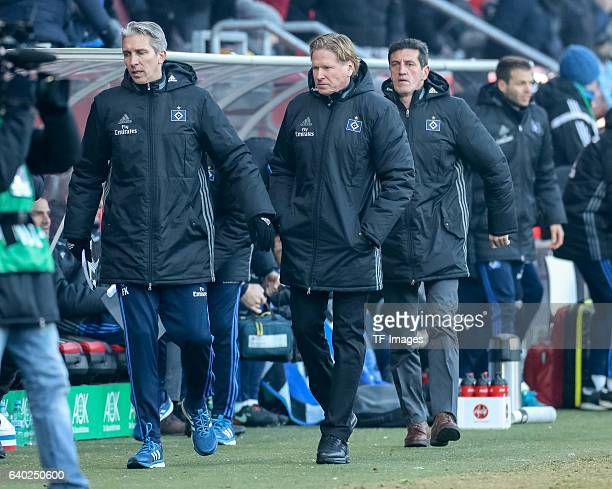Head Coach Markus Gisdol of Hamburger and Sportdirektor Jens Todt of Hamburger disappointed during the Bundesliga match between FC Ingolstadt 04 and...