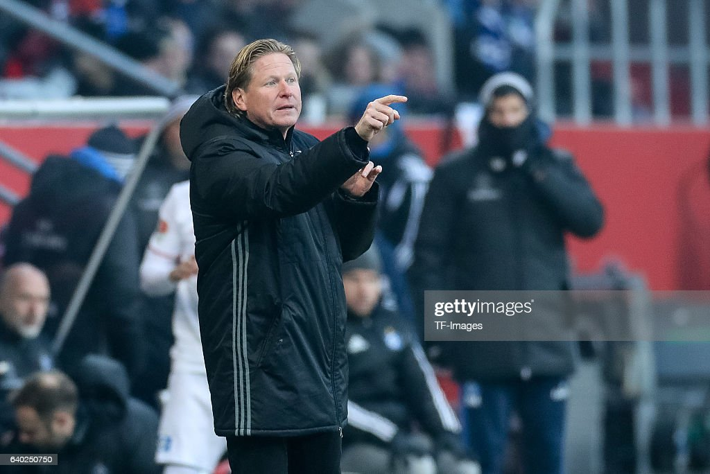 Head Coach Markus Gisdol of Hamburger gestures during the Bundesliga match between FC Ingolstadt 04 and Hamburger SV at Audi Sportpark on January 28, 2017 in Ingolstadt, Germany. (Photo by TF-Images/Getty Images)'n