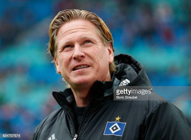 Head coach Markus Gisdol of Hamburger SV looks on prior to the Bundesliga match between RB Leipzig and Hamburger SV at Red Bull Arena on February 11...