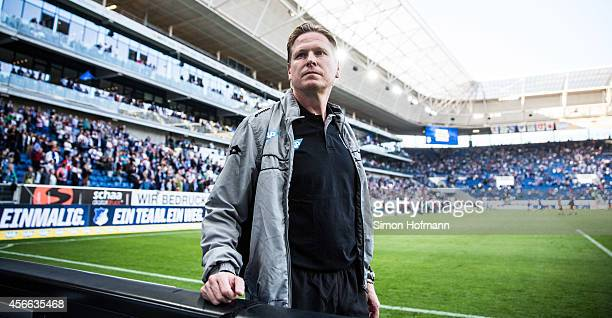Head coach Markus Gisdol of Hoffenheim looks on during the Bundesliga match between 1899 Hoffenheim and FC Schalke 04 at Wirsol RheinNeckarArena on...
