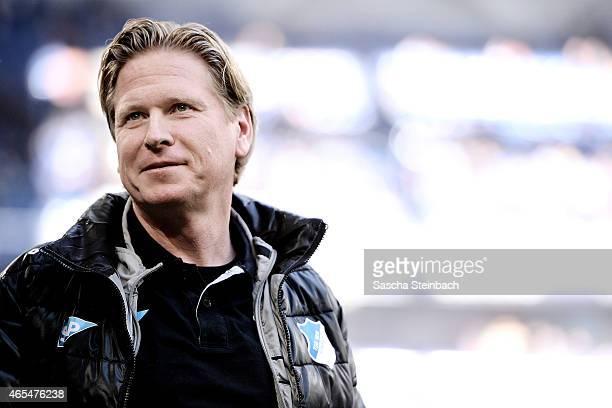 Head coach Markus Gisdol of Hoffenheim looks on prior to the Bundesliga match between FC Schalke 04 and 1899 Hoffenheim at Veltins Arena on March 7...