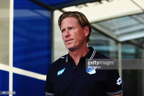 Head coach Markus Gisdol of Hoffenheim looks on prior to the Bundesliga match between 1899 Hoffenheim and VfB Stuttgart at Wirsol RheinNeckarArena on...