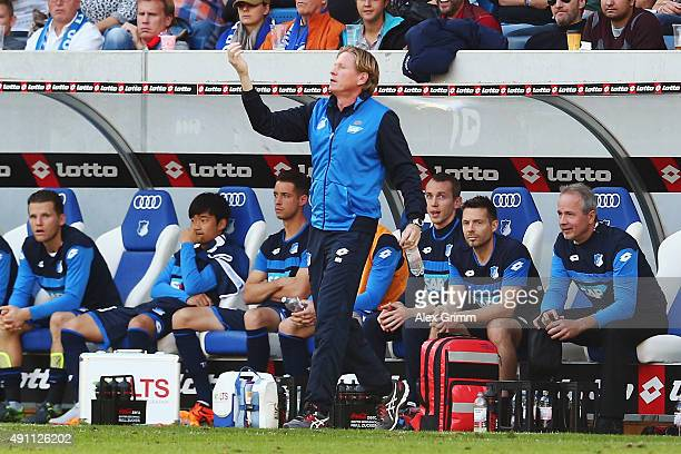 Head coach Markus Gisdol of Hoffenheim reacts during the Bundesliga match between 1899 Hoffenheim and VfB Stuttgart at Wirsol RheinNeckarArena on...