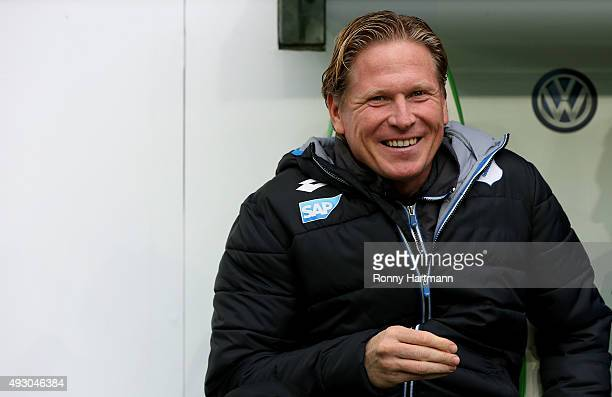 Head coach Markus Gisdol of Hoffenheim smiles prior to the Bundesliga match between VfL Wolfsburg and 1899 Hoffenheim at Volkswagen Arena on October...