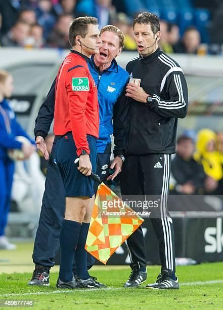Head coach Markus Gisdol reacts during the bundesliga match between 1899 Hoffenheim and Borussia Dortmund at Wirsol RheinNeckarArena on September 23...