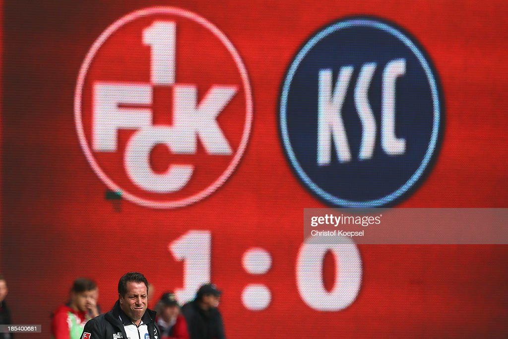 Head coach Markus Kauczinski of Karlsruhe looks thoughtful during the the Second Bundesliga match between 1. FC Kaiserslautern and Karlsruher SC at Fritz-Walter-Stadion on October 20, 2013 in Kaiserslautern, Germany.