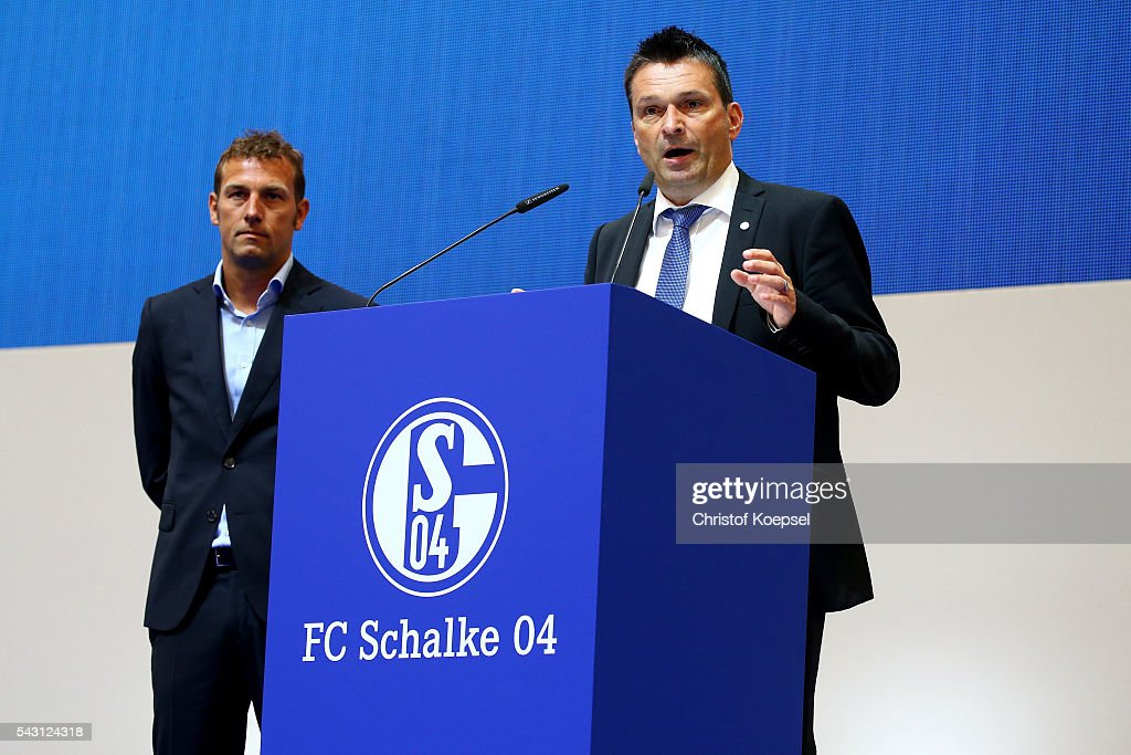 Head coach <a gi-track='captionPersonalityLinkClicked' href=/galleries/search?phrase=Markus+Weinzierl&family=editorial&specificpeople=5848121 ng-click='$event.stopPropagation()'>Markus Weinzierl</a> and manager Christian Heidel attend the FC Schalke 04 general assembly at Veltins Arena on June 26, 2016 in Gelsenkirchen, Germany.