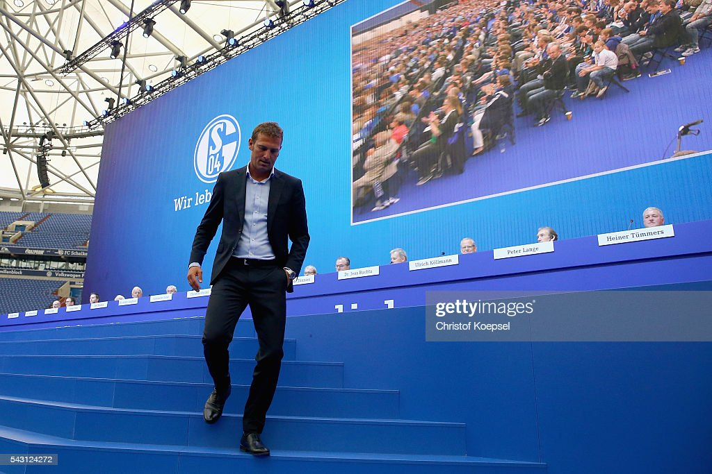 Head coach <a gi-track='captionPersonalityLinkClicked' href=/galleries/search?phrase=Markus+Weinzierl&family=editorial&specificpeople=5848121 ng-click='$event.stopPropagation()'>Markus Weinzierl</a> attends the FC Schalke 04 general assembly at Veltins Arena on June 26, 2016 in Gelsenkirchen, Germany.