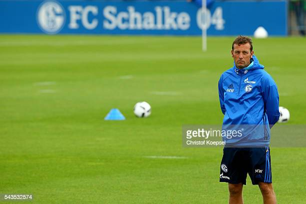 Head coach Markus Weinzierl attends the training session of Schalke 04 at training ground on June 29 2016 in Gelsenkirchen Germany
