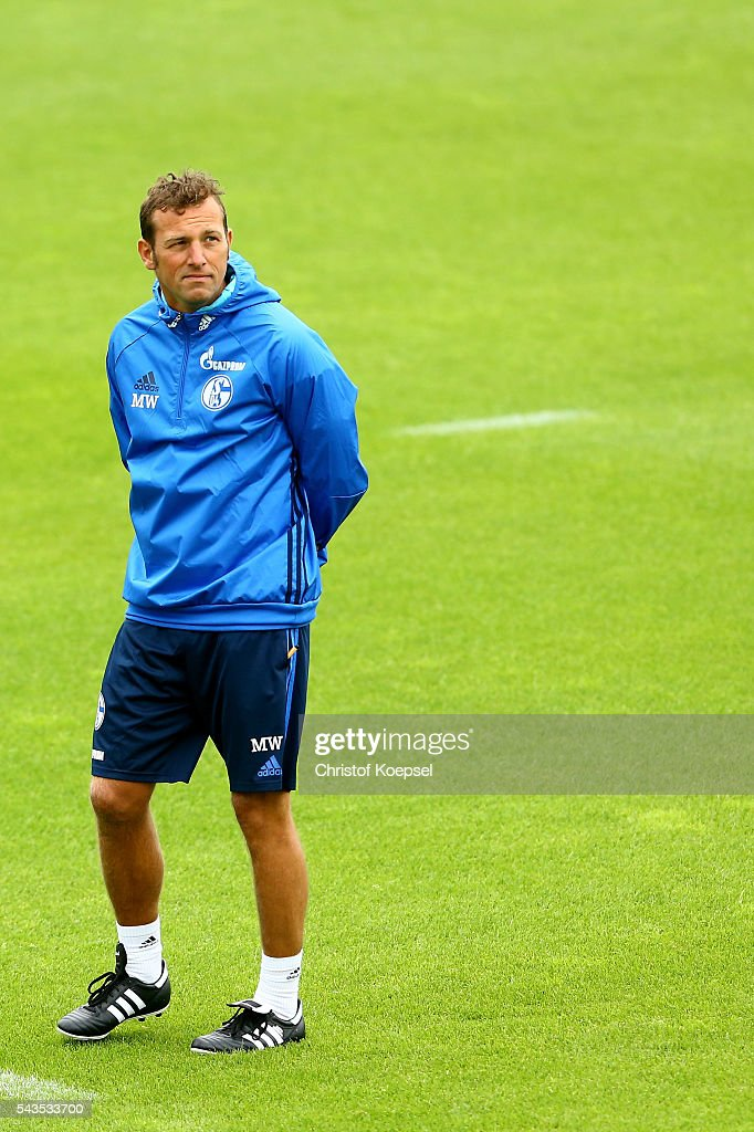 Head coach <a gi-track='captionPersonalityLinkClicked' href=/galleries/search?phrase=Markus+Weinzierl&family=editorial&specificpeople=5848121 ng-click='$event.stopPropagation()'>Markus Weinzierl</a> attends the training session of Schalke 04 at training ground on June 29, 2016 in Gelsenkirchen, Germany.