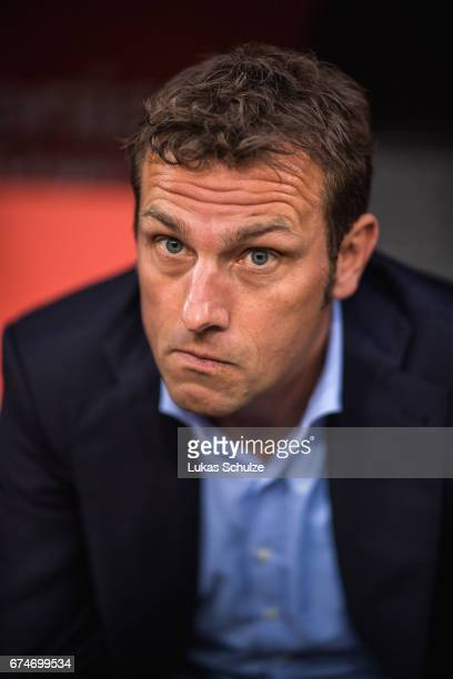 Head Coach Markus Weinzierl is seen prior to the Bundesliga match between Bayer 04 Leverkusen and FC Schalke 04 at BayArena on April 28 2017 in...