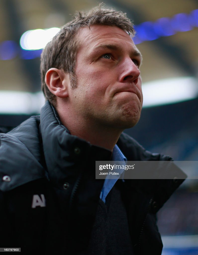 Head coach <a gi-track='captionPersonalityLinkClicked' href=/galleries/search?phrase=Markus+Weinzierl&family=editorial&specificpeople=5848121 ng-click='$event.stopPropagation()'>Markus Weinzierl</a> of Augsburg is seen prior to the Bundesliga match between Hamburger SV and FC Augsburg at Imtech Arena on March 16, 2013 in Hamburg, Germany.