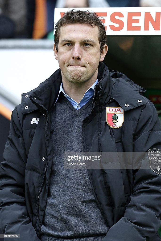 Head coach <a gi-track='captionPersonalityLinkClicked' href=/galleries/search?phrase=Markus+Weinzierl&family=editorial&specificpeople=5848121 ng-click='$event.stopPropagation()'>Markus Weinzierl</a> of Augsburg reacts during the Bundesliga match between SV Werder Bremen and FC Augsburg at Weser Stadium on March 2, 2013 in Bremen, Germany.