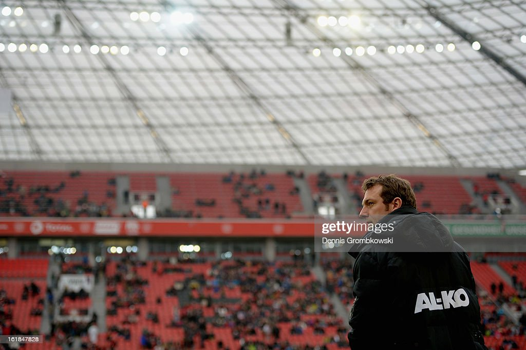 Head coach Markus Weinzierl of Augsburg reacts prior to the Bundesliga match between Bayer 04 Leverkusen and FC Augsburg at BayArena on February 16, 2013 in Leverkusen, Germany.