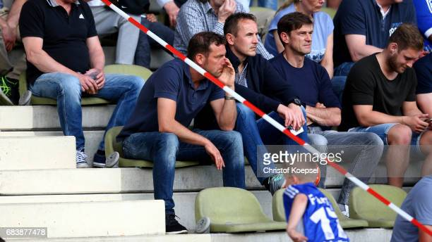Head coach Markus Weinzierl of Schalke sits on the tribune during the U19 German Championship Semi Final second leg match between FC Schalke and FC...