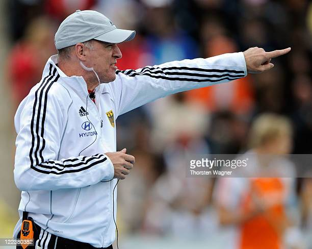 Head coach Markus Weise gestures during the EuroHockey 2011 final match between Netherlands and Germany at Warsteiner HockeyPark on August 28 2011 in...