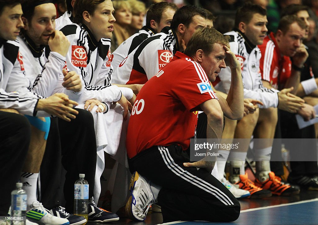 Head coach Martin Heuberger (C) of Germany is seen during the International handball friendly match between Germany and Hungary at Getec-Arena on January 8, 2012 in Magdeburg, Germany.