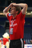 Head coach Martin Heuberger of Germany looks dejected after losing 3233 the the Men's European Handball Championship second round group one match...