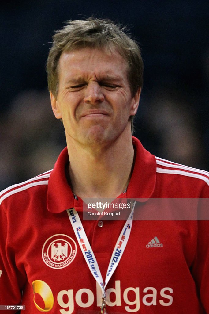 Head coach Martin Heuberger of Germany looks dejected after losing 32-33 the the Men's European Handball Championship second round group one match between Poland and Germany at Beogradska Arena on January 25, 2012 in Belgrade, Serbia.