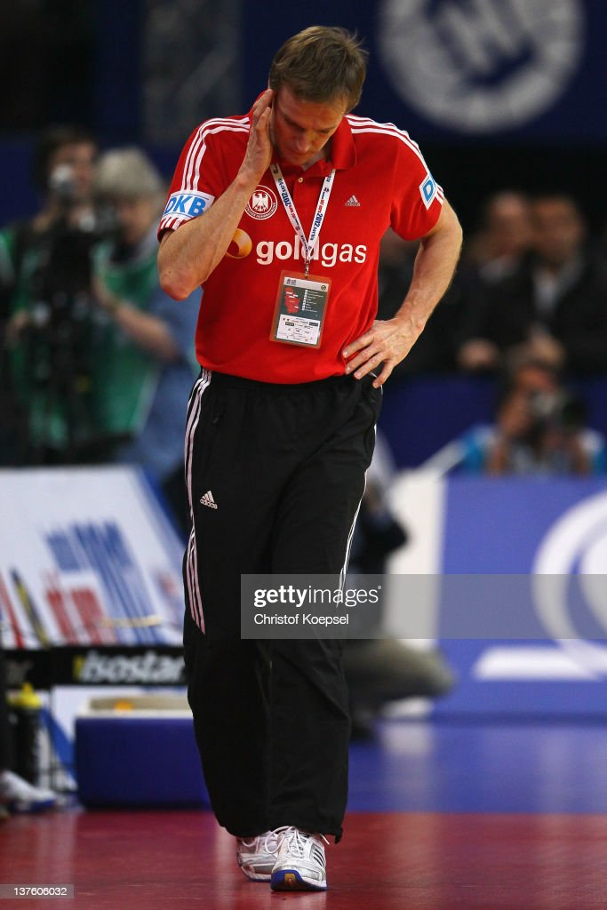 Head coach Martin Heuberger of Germany looks dejected during the Men's European Handball Championship second round group one match between Denmark and Germany at Beogradska Arena on January 23, 2012 in Belgrade, Serbia.