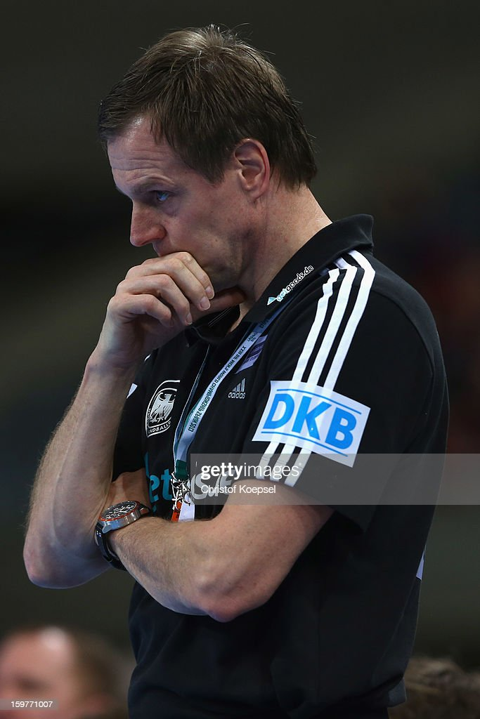 Head coach Martin Heuberger of Germany looks thoughtful during the round of sixteen match between Germany and Macedonia at Palau Sant Jordi on January 20, 2013 in Barcelona, Spain.