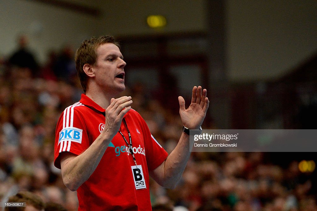 Head coach <a gi-track='captionPersonalityLinkClicked' href=/galleries/search?phrase=Martin+Heuberger&family=editorial&specificpeople=2084797 ng-click='$event.stopPropagation()'>Martin Heuberger</a> of Germany reacts during the DHB International Friendly match between Germany and Switzerland at Conlog-Arena on March 10, 2013 in Koblenz am Rhein, Germany.