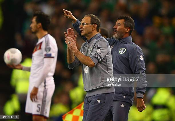 Head Coach Martin O'Neill of Republic of Ireland and Roy Keane assistant manager of the Republic of Ireland on the touchline during the UEFA EURO...