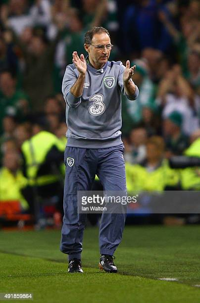 Head Coach Martin O'Neill of Republic of Ireland gives encouragement during the UEFA EURO 2016 Qualifier group D match between Republic of Ireland...