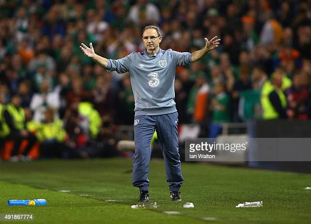 Head Coach Martin O'Neill of Republic of Ireland reacts during the UEFA EURO 2016 Qualifier group D match between Republic of Ireland and Germany at...