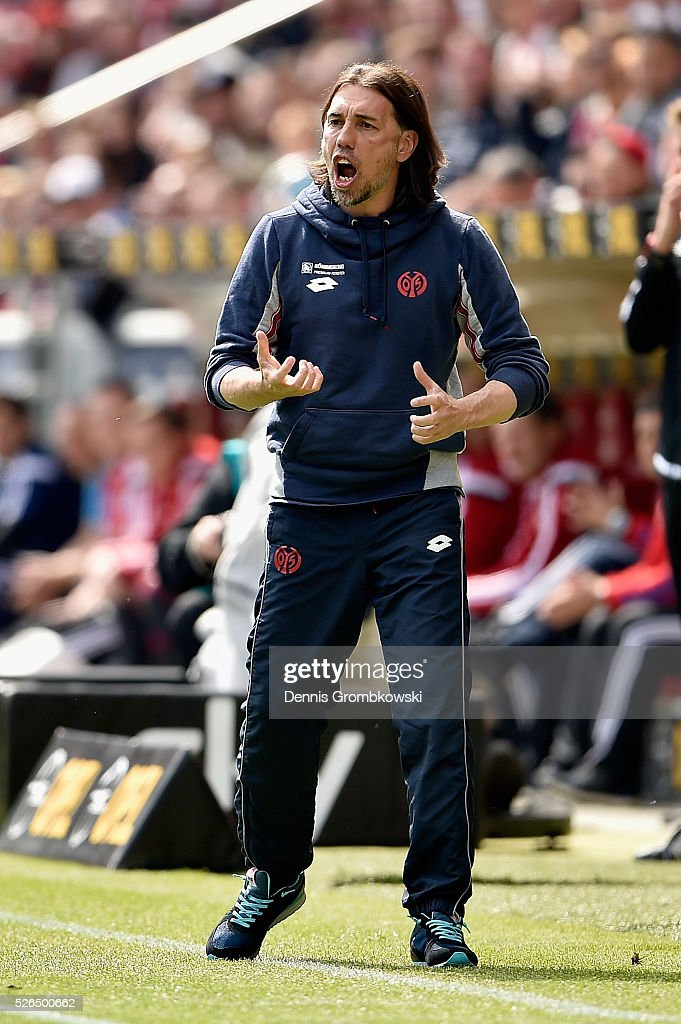 Head coach Martin Schmidt of 1. FSV Mainz 05 reacts during the Bundesliga match between 1. FSV Mainz 05 and Hamburger SV at Coface Arena on April 30, 2016 in Mainz, Germany.