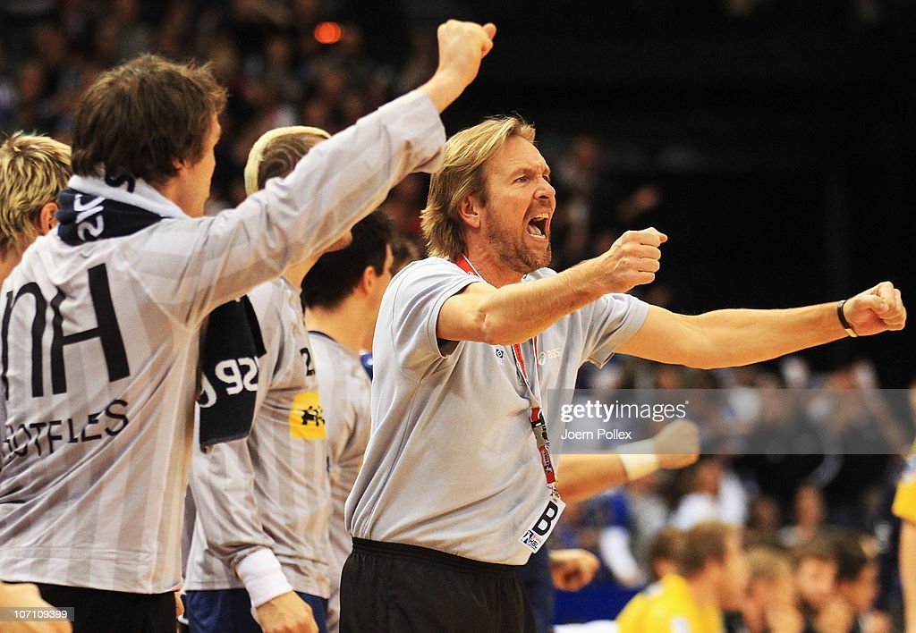 Head coach Martin Schwalb of Hamburg celebrates during the Toyota Handball Bundesliga match between HSV Hamburg and Rhein Neckar Loewen at the o2...