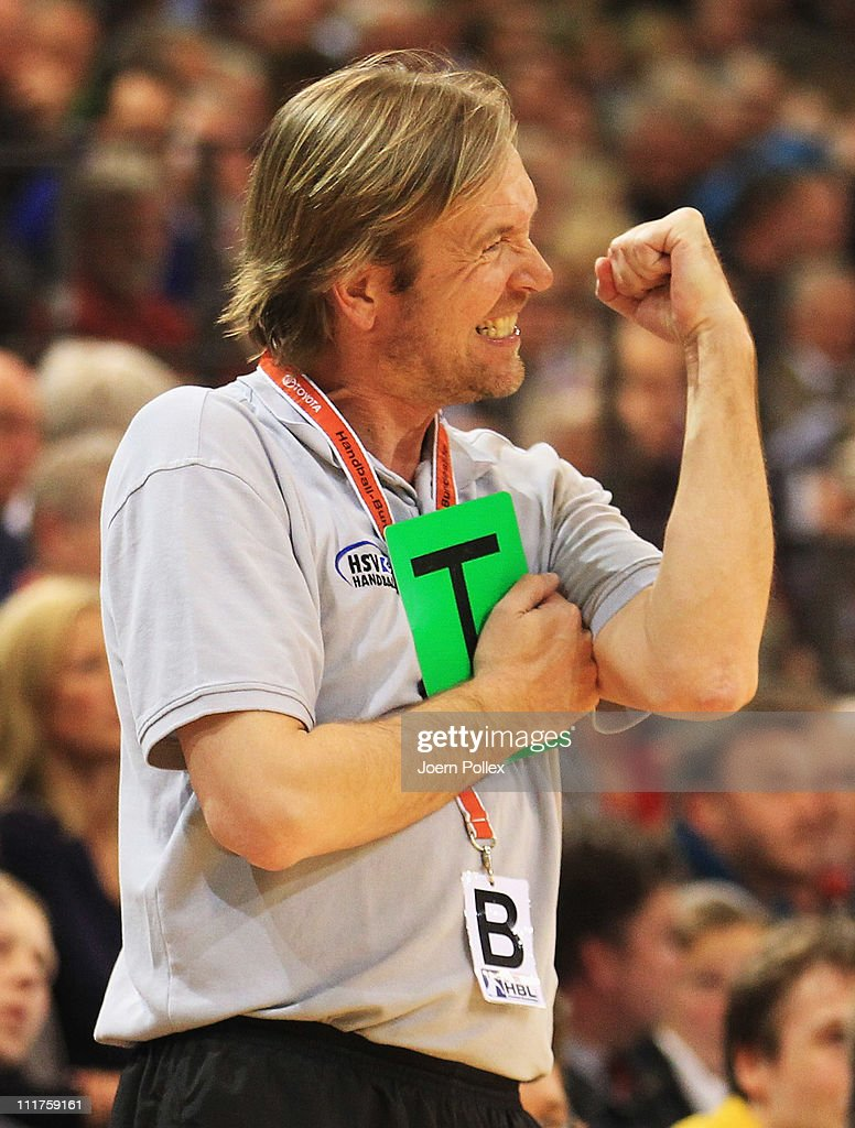 Head coach Martin Schwalb of Hamburg celebrates during the Toyota Handball Bundesliga game between SG FlensburgHandewitt and HSV Hamburg at the...