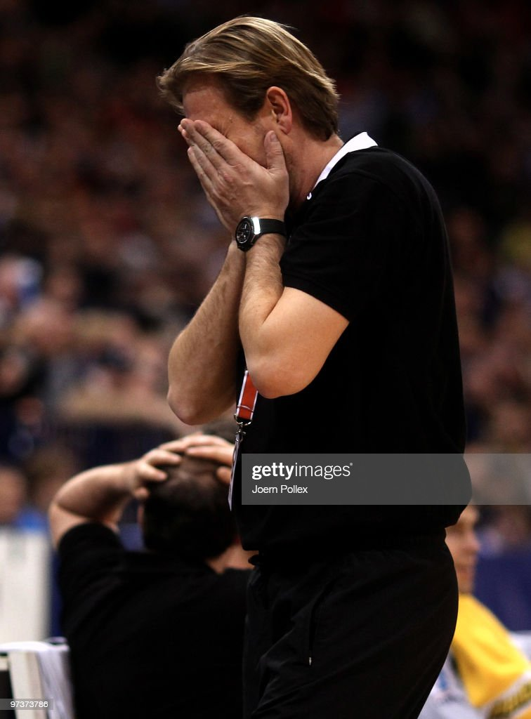 Head coach Martin Schwalb of Hamburg gestures during the Bundesliga match between HSV Hamburg and VfL Gummersbach at the Color Line Arena on March 2...