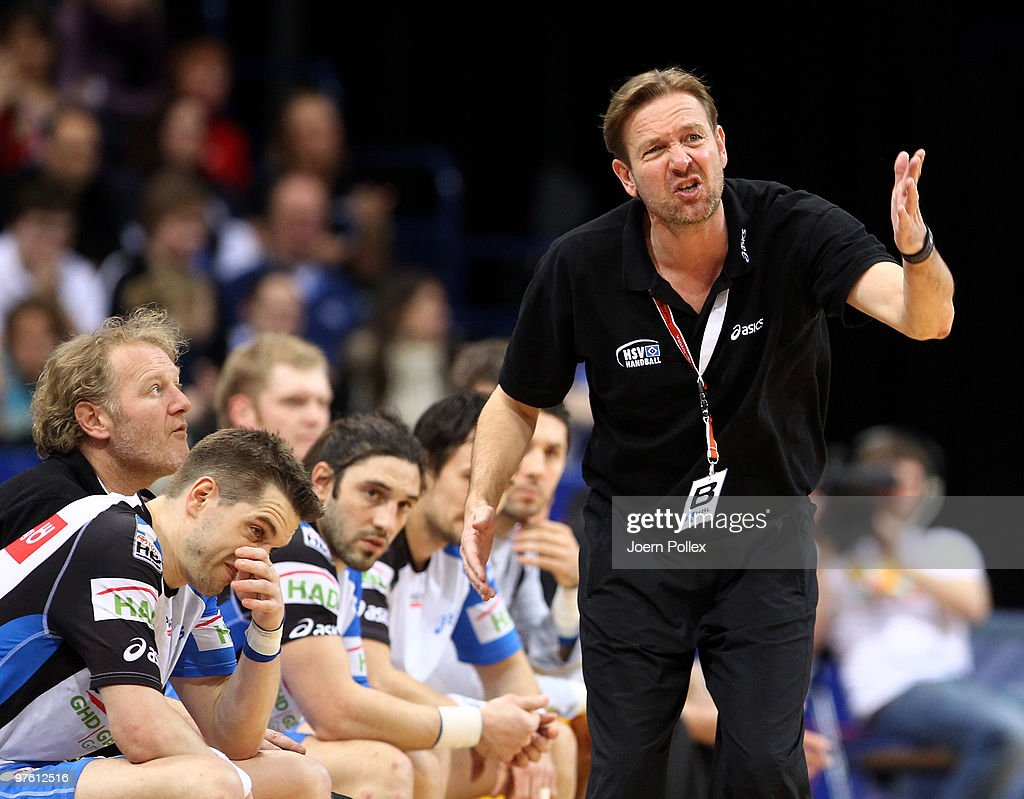 Head coach Martin Schwalb of Hamburg gestures during the Bundesliga match between HSV Hamburg and Fuechse Berlin on March 10 2010 in Hamburg Germany